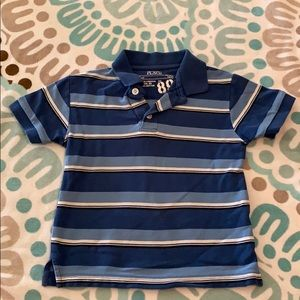 Striped collared short sleeved shirt